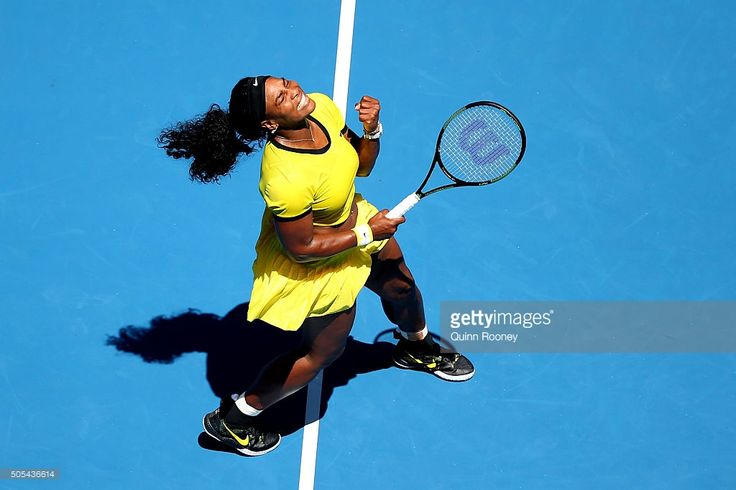 Serena Williams of the United States celebrates winning a point in her first round match against Camila Giorgi of Italy during day one of the 2016 Australian Open at Melbourne Park on January 18, 2016 in Melbourne, Australia.