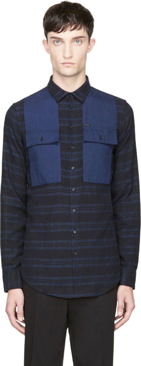 Dsquared2: Blue & Black Flannel Color Block Shirt | SSENSE