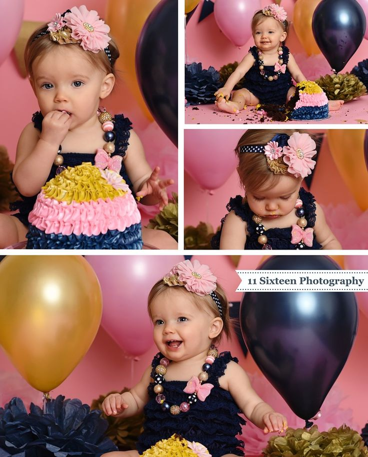 Adelyns navy pink and gold cake smash session