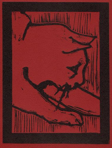Red cat. Linocut