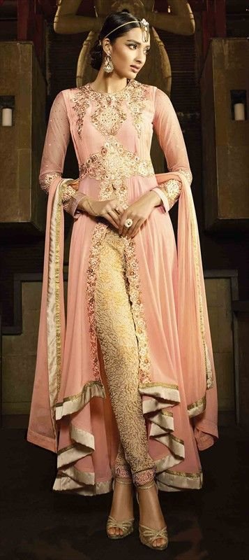 Pastel Pink High Slit Salwar Kameez - Eid Special 465162 Pink and Majenta  color family Party Wear Salwar Kameez in Faux Georgette fabric with Lace,Machine Embroidery,Stone,Thread work .