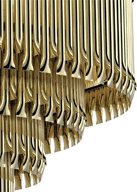 matheny suspension light fixture chandelier brass tubes stilnovo style delightfull unique lamps Design - Salerno - Illuminazione