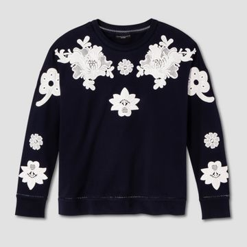 Women's Navy and White Floral Lace Appliqué Sweat Top - Victoria Beckham for Target  https://workinglook.com/2017/03/19/catching-spring-fever-with-victoria-beckhams-target-collection/