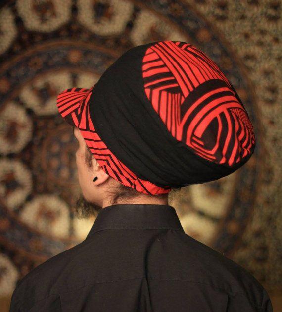 Dreadbag  red and black geometric dreadlocks cap by WuSquared