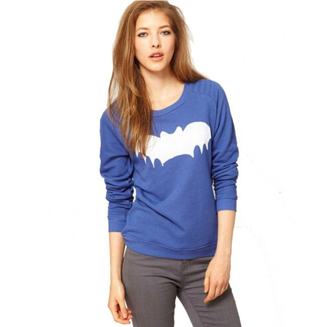 Women's Batman Logo Printed Slim Fit Cotton Pullover Shirt Blue
