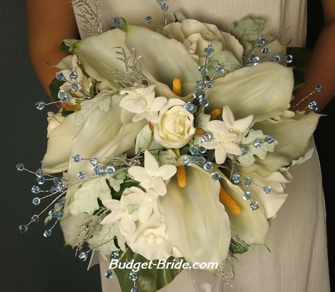 Christmas Bouquet by Budget-Bride, $150. I like the crystal accents. Could maybe be done with stones and other accents in the right colors.