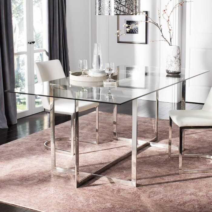 Petrick Polished Glass Top Dining Table With Images Glass Top Dining Table Glass Dining Table Glass Dining Table Decor