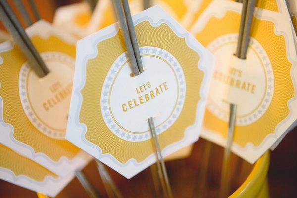 """Dress up sparklers with DIY """"Let's Celebrate"""" printouts! Photo: Morrissey Photo"""