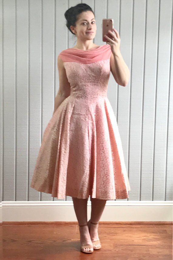 Vintage 1950s tea length evening gown. Gorgeous 50s pink formal ...