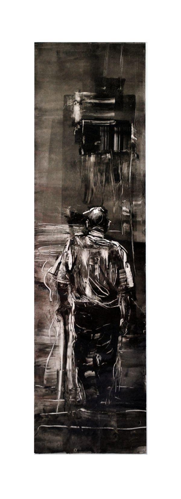 """ walking"" monoprints by Dina Haddadin, via Behance"