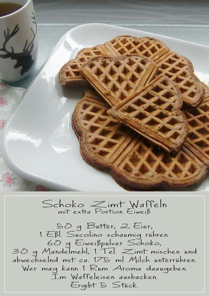 Schoko Zimt Waffeln, Eiweißwaffeln. Schnell und einfach gebacken und am besten noch warm genießen.