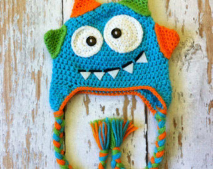 Monstruo de bebé de ganchillo sombrero azul 0-5T