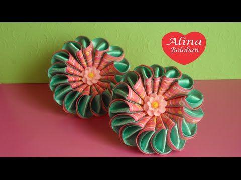 Как сделать Двойной Цветок из лент / D.I.Y. Сómo hacer una flor doble de cintas - YouTube