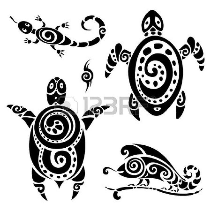 Turtle. Polynesian tattoo. Tribal pattern set. Vector illustration.