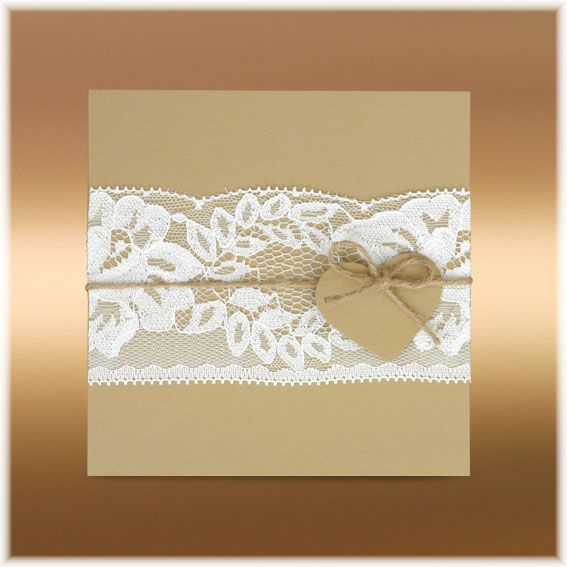 Svatební oznámení s krajkou vintage SK268