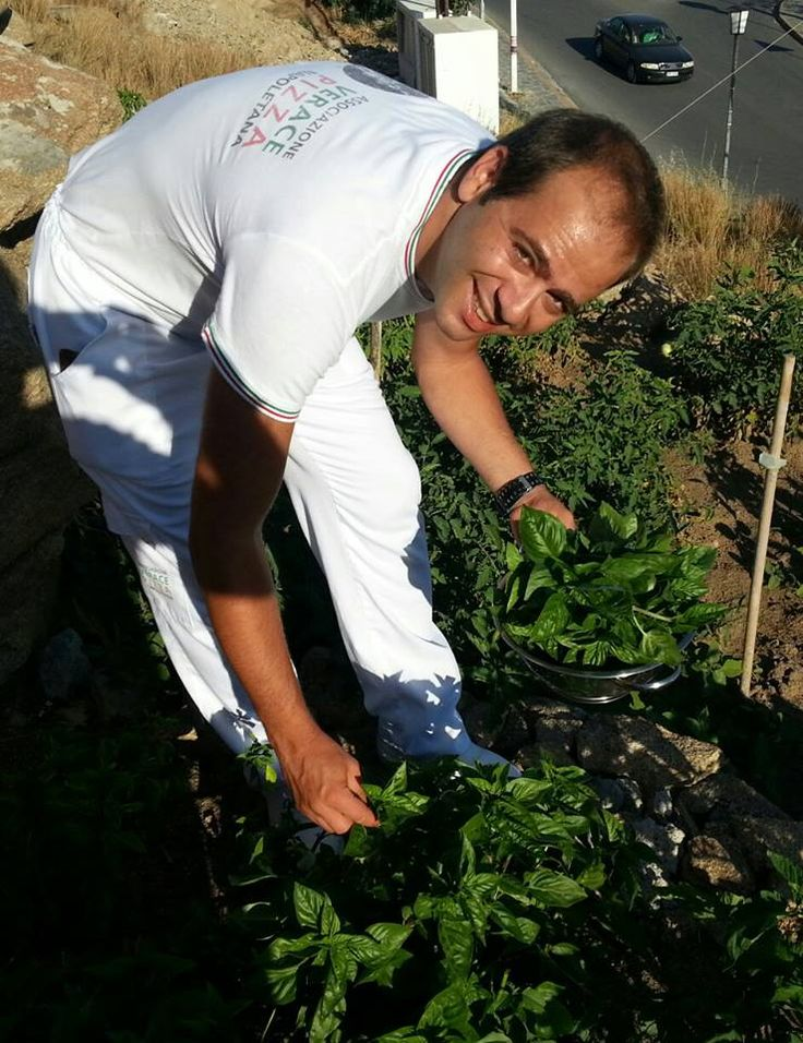 Collecting Basilico from the garden, Marechiaro Pizza Mykonos