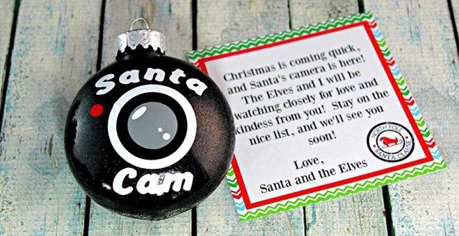 Santa Spy Cam Christmas Ornament | Jane
