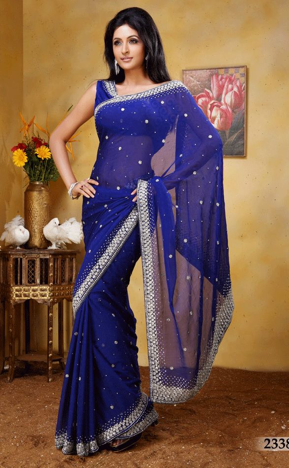 Royal Blue Color Jacquard Saree