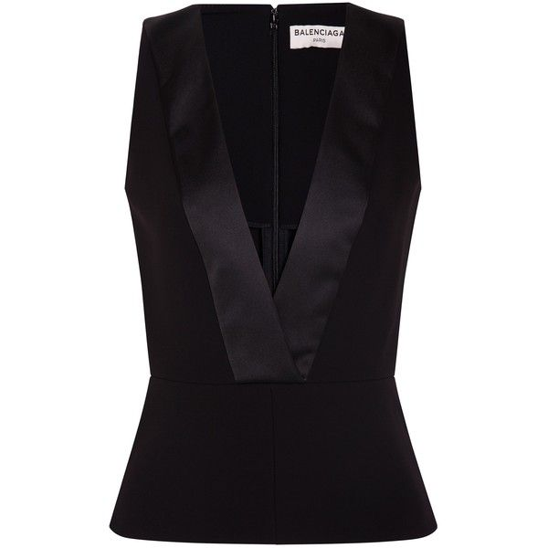 Balenciaga Deep V Top found on Polyvore featuring tops, shirts, black, balenciaga top, black peplum top, shirts & tops, peplum shirt and black top