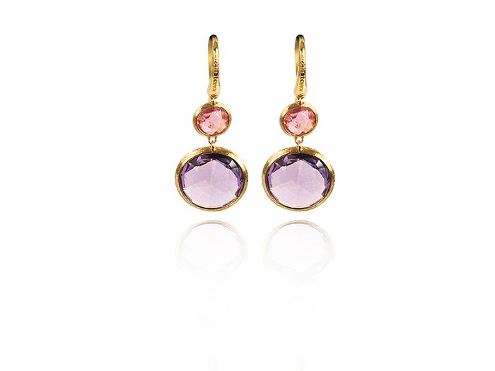 Marco Bicego Jaipur Earrings Fashioned In 18k Yellow Gold Featuring Bezel Set Amethyst And Pink Tourmaline Gemston At Alson Jewelers