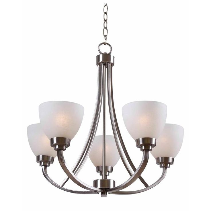 Hampton Bay Hastings 5 Light Brushed Steel Chandelier Hdp12055 At The Home Depot 139 Dining Room Light Fixtures Dining Room Lighting