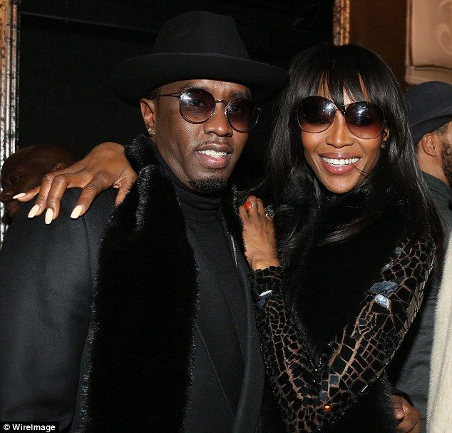 Party girl: Later, Naomi met up with pal Sean 'Diddy' Combs at the Deleon Tequila launch p...