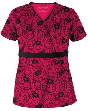 Advantage STRETCH by Butter-Soft™ Floral Conversation Black Stretch Scrub Top   This mock wrap scrub top was made with stretch soft fabric for supreme comfort. Style # AB203FCO #uniformadvantage #uacsrubs #adayinscrubs #red #scrubs #redscrubs #funscrubs #fashion #scrubs #nurse #nursingscrubs