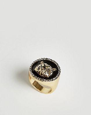 ASOS Gold Sovereign Ring With Cheetah Design