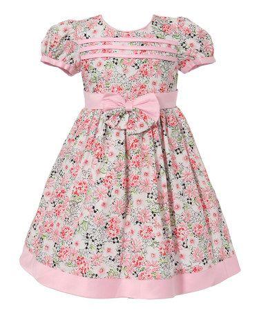 Pink Floral Bow Puff-Sleeve Dress - Infant & Toddler #zulily #zulilyfinds