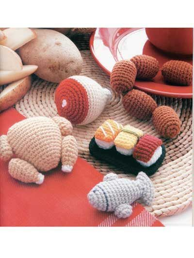Meat amigurumi patterns - Food Amigurumi - Ice Box Crochet - Crochet Pretend Play Food