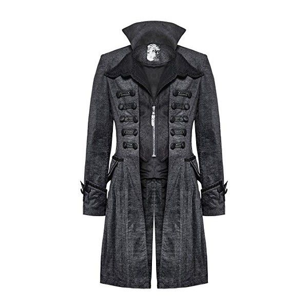 Punk Rave Mens Gothic Coat Jacket Grey Black Steampunk VTG Victorian... ($180) ❤ liked on Polyvore featuring men's fashion, men's clothing, men's outerwear, goth mens clothing, mens clothing, men's apparel and gothic mens clothing