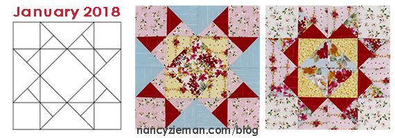 January Block Of The Month Star Of Hope No Hassle Triangles By Sewing With Nancy Zieman Mystery Quilt Patterns Block Of The Month Quilt Patterns