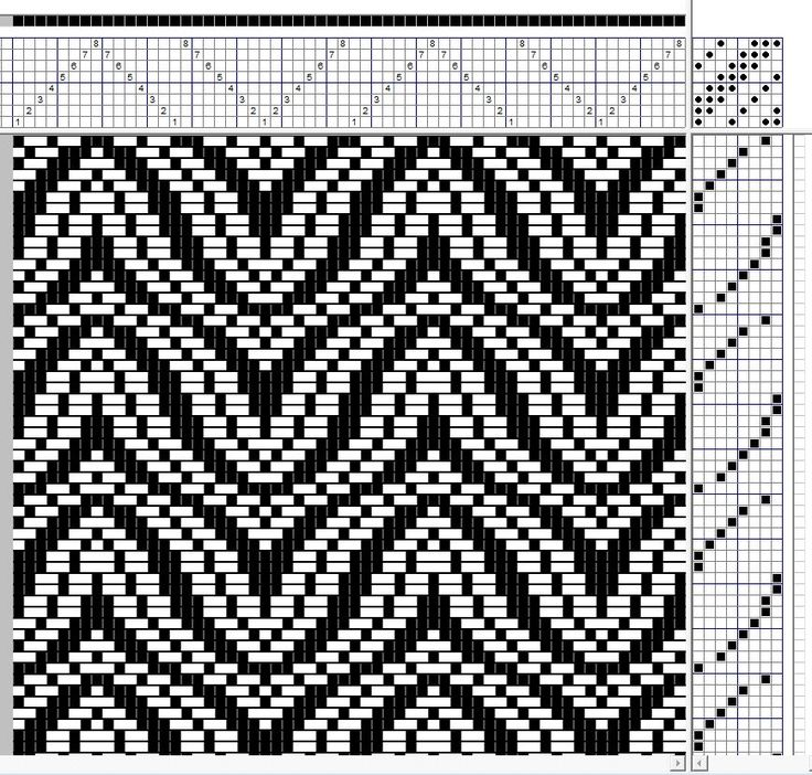 8-Shaft Undulating Twill. This is draft 219 from Strickler with the threading/treadling reversed to create horizontal waves. #weaving #Twill