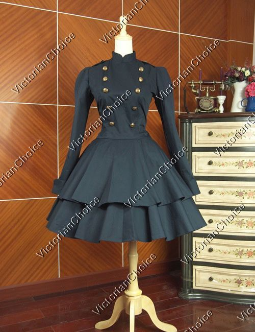 Victorian Gothic Cosplay Lolita Military Accent Dress Steampunk Halloween Costume