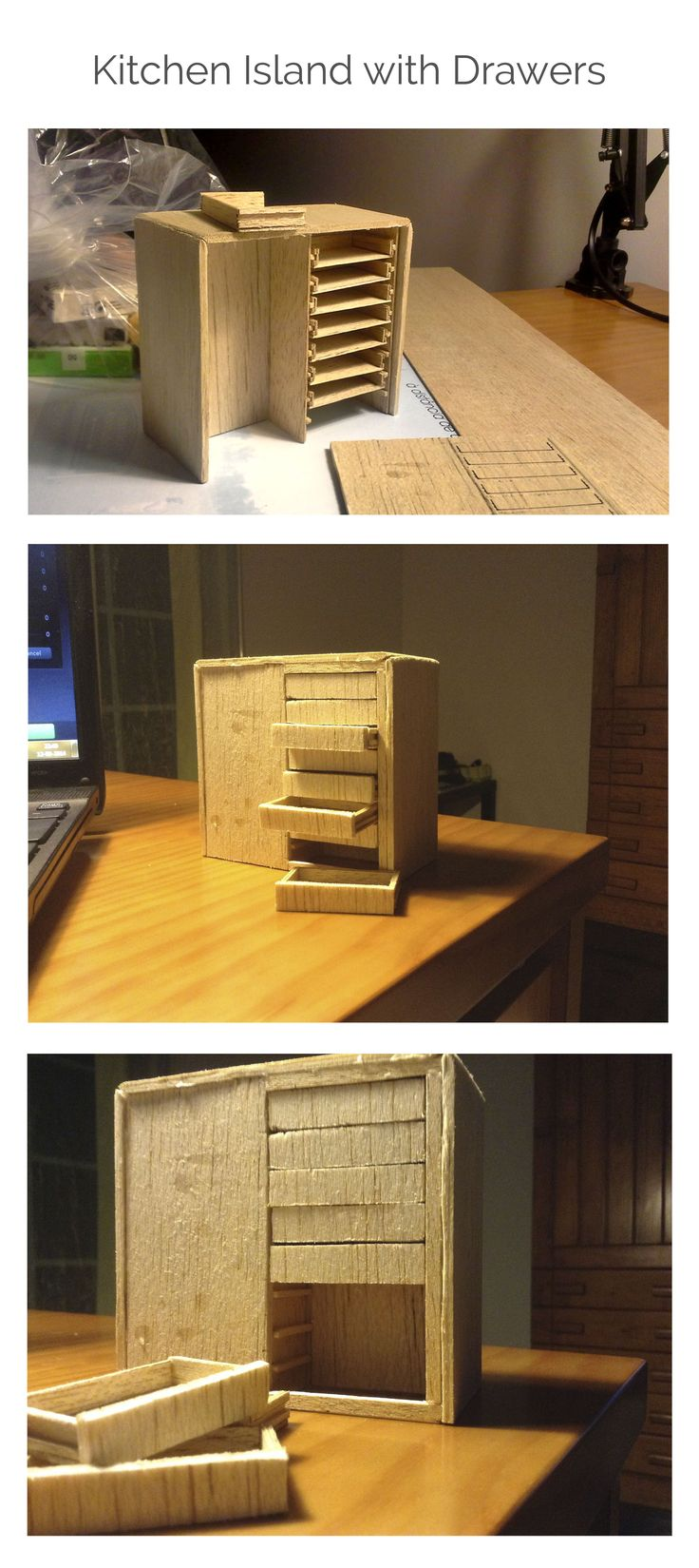 Kitchen Island With Drawers    Fully functional    Material: Balsa wood (is easier to work with than regular wood)