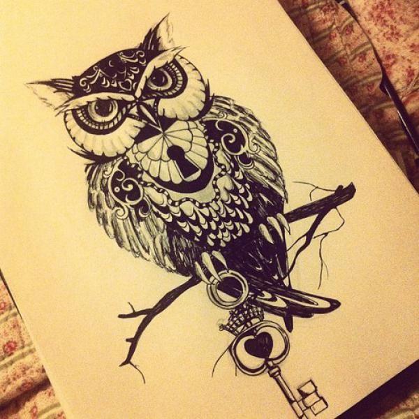 Black Ink Owl Lock On Branch With Key Tattoo Design