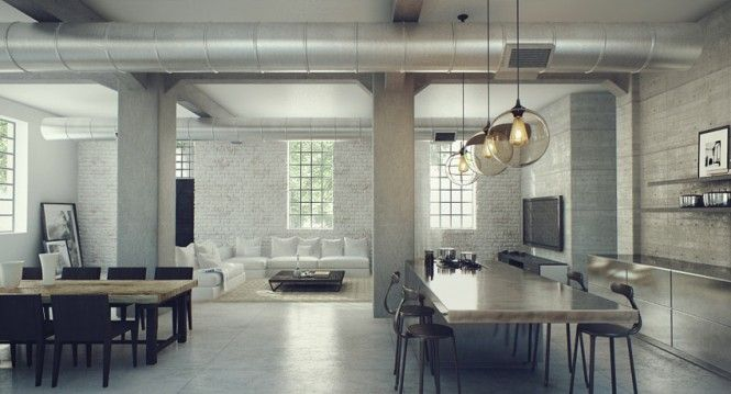 Contemporary Home Design, Charming Modern Industrial Loft Interior Design: Sophisticated Industrial House Design with the Amazing Idea