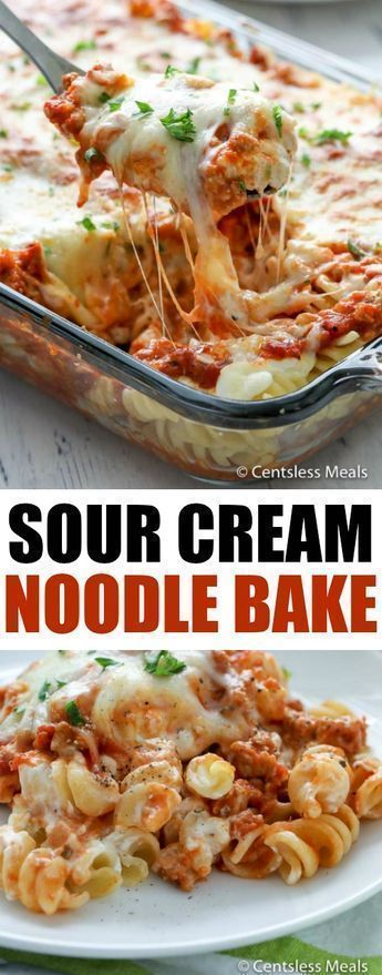 This Sour Cream Noodle Bake is loaded with ground beef, smothered with 3 differe…