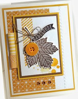 Me, My Stamps and I: From This To This- A Second Look at ATC Stamps: Magnificent Maple, Harvest of Thanks Paper:  Baked Brown Sugar, Crushed Curry, Daffodil Delight, Very Vanilla, Sweater Weather DSP  (Baking Tools Brown Sugar)