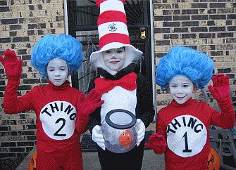 thing 1 thing 2 and cat in the hat costumes - Cat In The Hat Halloween Costume Ideas