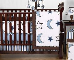 Modern Blue and white Stars and Moons Baby Boy Bedding 9pc Crib Set  http://www.babystoreshop.com/modern-blue-and-white-stars-and-moons-baby-boy-bedding-9pc-crib-set/
