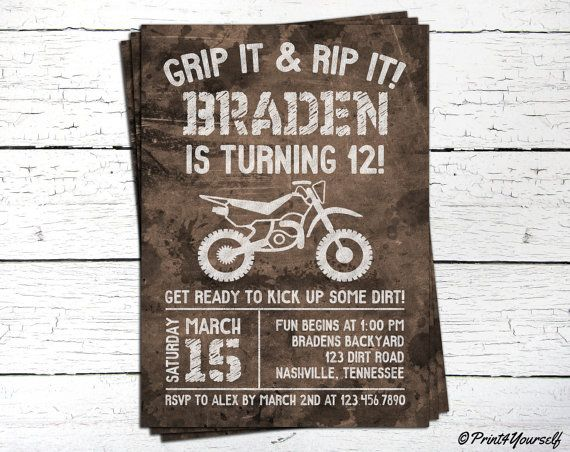 Dirt Bike Invite // Personalized Printable by Print4Yourself