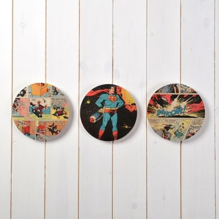 Trio of superhero comic circle wall art :  for my boys
