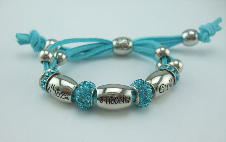 Whoza STRONG Girl? Teal Blue Shamballa Bracelet.