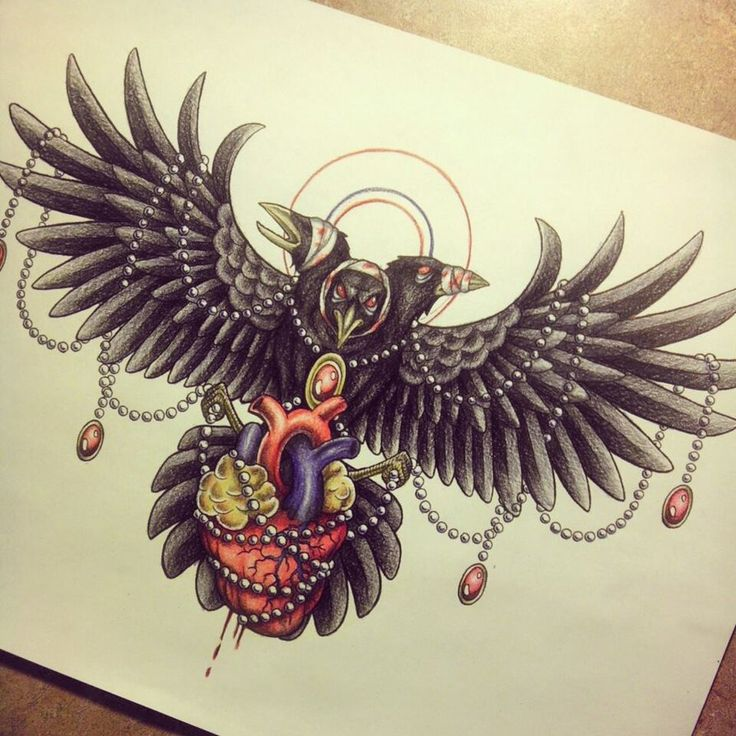 Crow Tattoo Design by MyHedHertz