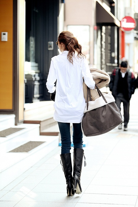 Long White Shirt - Top | Women's clothing & accessories - online fashion store of Korean, Japanese and all Asian style.