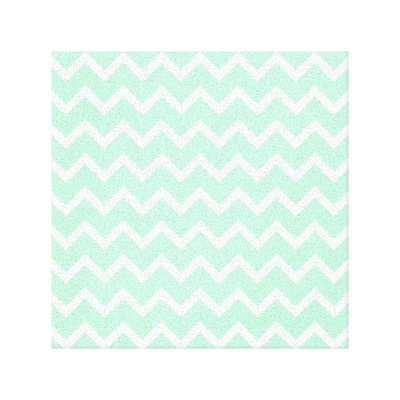 Mint Green Chevron Stripes Wrapped Canvas