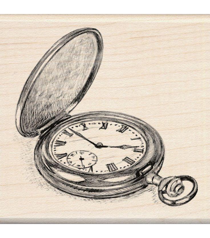 Inkadinkado Mounted Rubber Stamp-Pocket Watch