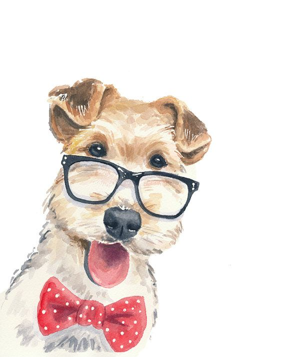 Dog Watercolor PRINT Wire Fox Terrier 5x7 by WaterInMyPaint