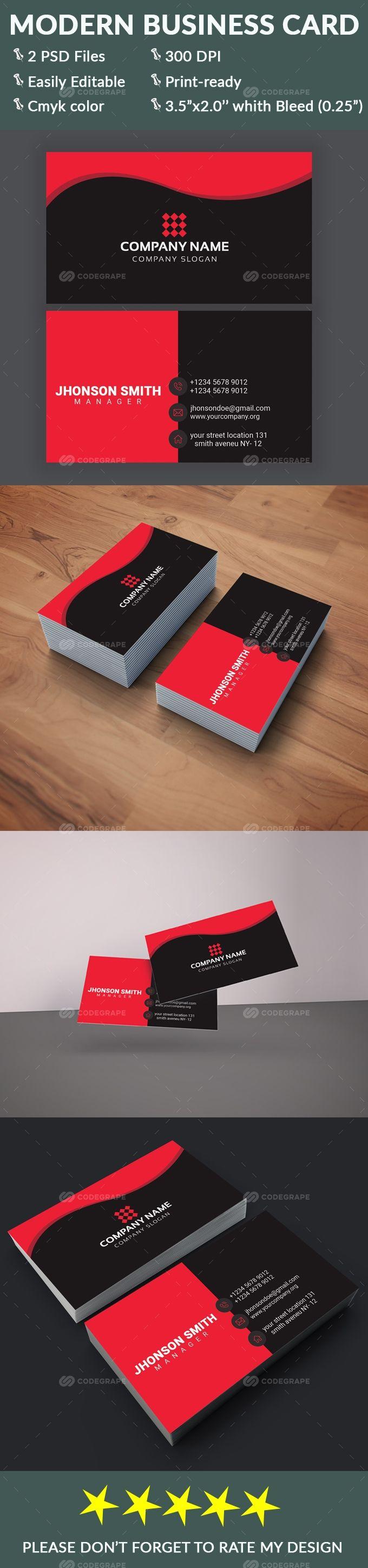 Modern Business Card Modern Business Cards Business Card Psd Cards